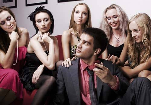 He's surrounded by women