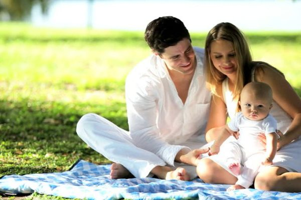 couple with cute child