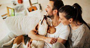 couple with cute dog