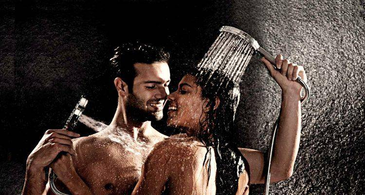 hot man and woman taking shower together