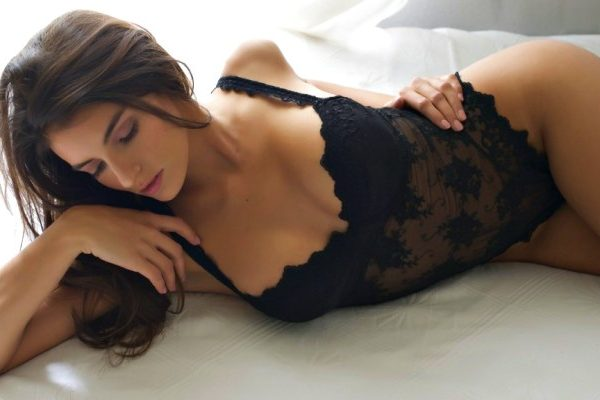 sexy lady in black lingerie