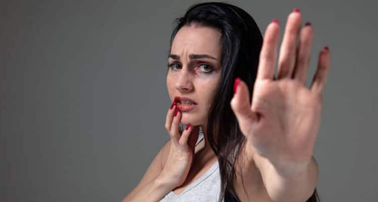 Abused woman in marriage