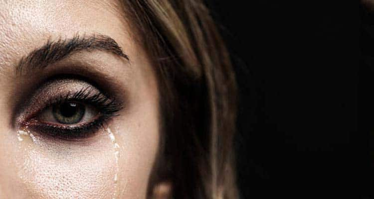 Woman with tears