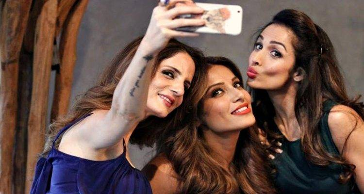 suzzane with bipasha and malaika
