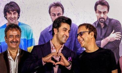ranbir and raju hirani with vidhu vinod
