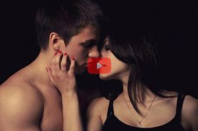 sexy man and woman in night kissing
