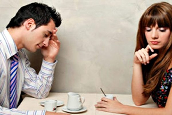 man tired and irritated by woman