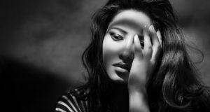 sad lady in black and white background