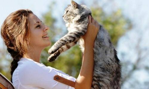 woman with cute cat