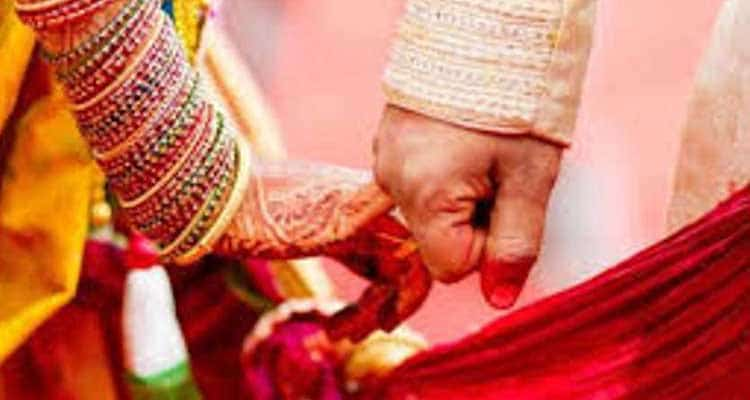 Couple's hand during marriage