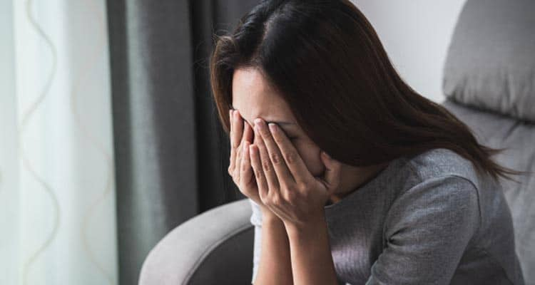 Divorced woman crying