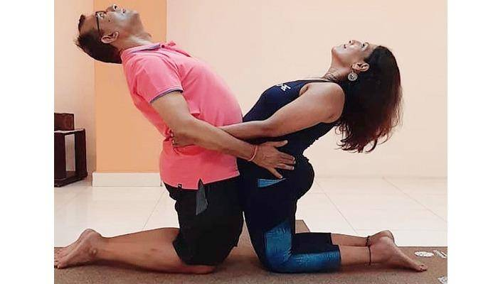 Yoga Asana' Supported Gentle Backend' helps open up the shoulders and chest