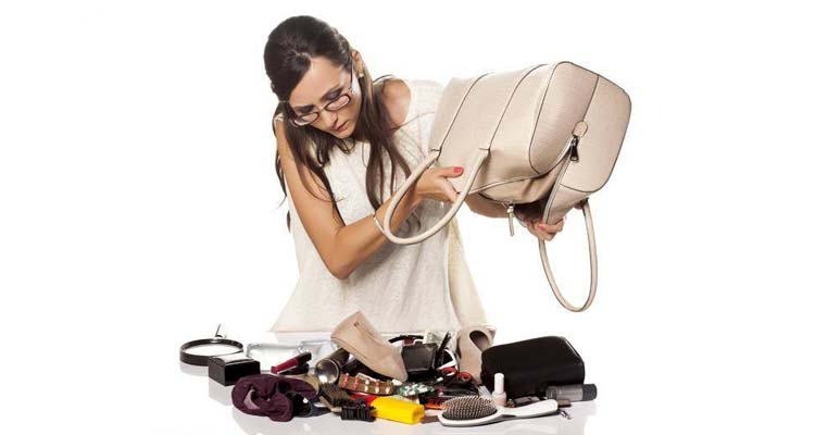 Woman searching for her stuff