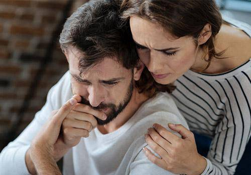Man crying in front of a girl. It's okay for men to cry.