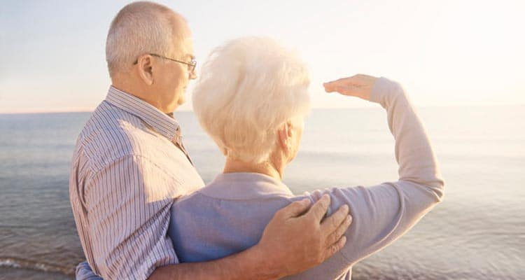 Old couple at beach