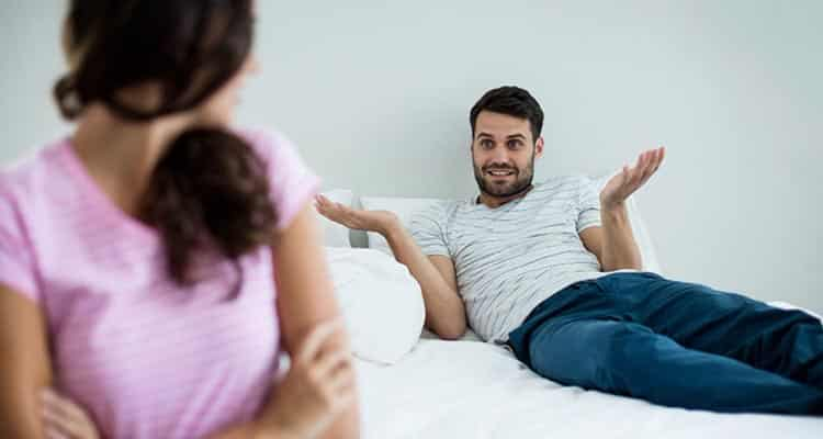 Man talking with wife