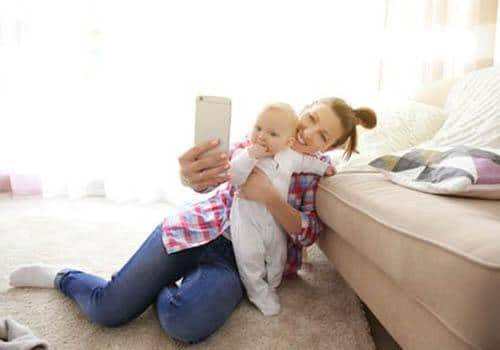 selfie with child for social media post