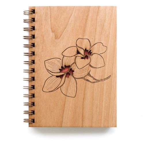 Hereafter Plumeria Laser Cut Wood Journal