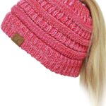 C.C Beanie Tail Cable Knit  Ponytail Beanie Hat