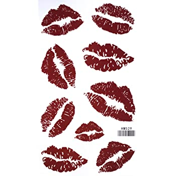 Red Lip Temporary Tattoo Stickers