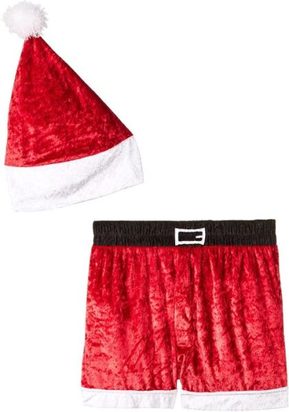 Velour Holiday Boxers with Hat