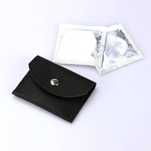 Leather condom wallet