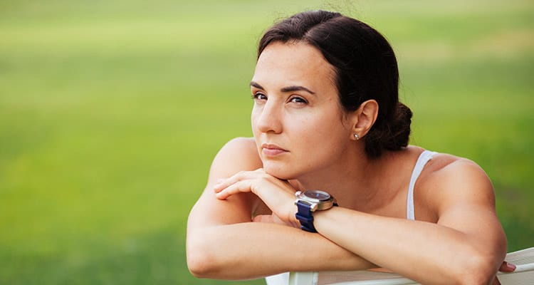 Girl thinking about her boyfriend's juvenile habits