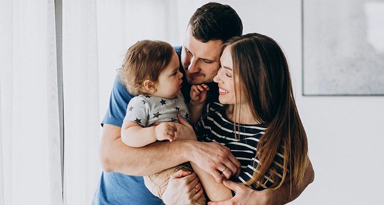 young family with their little daughter