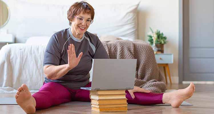 Woman doing a online call