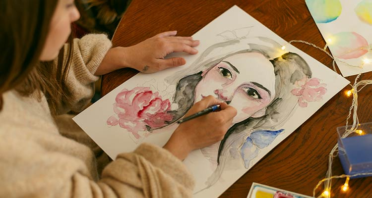 Creative contemporary painter painting a portrait