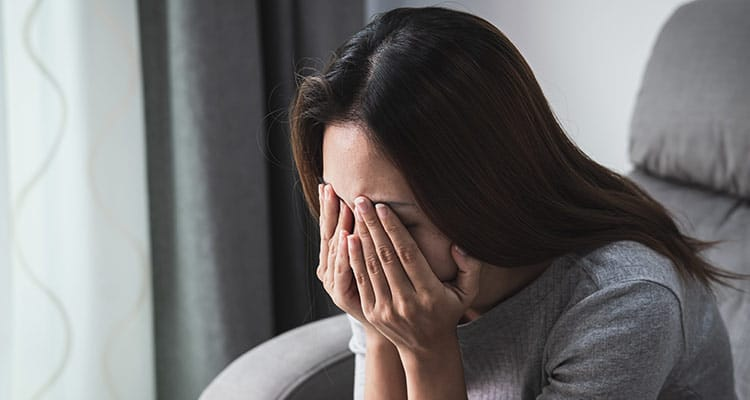 depressed sadness woman crying alone at home
