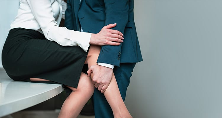 couple in passionate affair in office