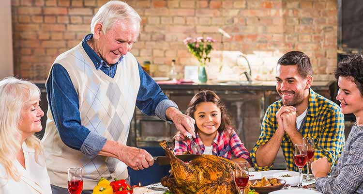 Family enjoy food in home