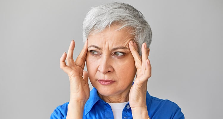 fifty year old woman having depression