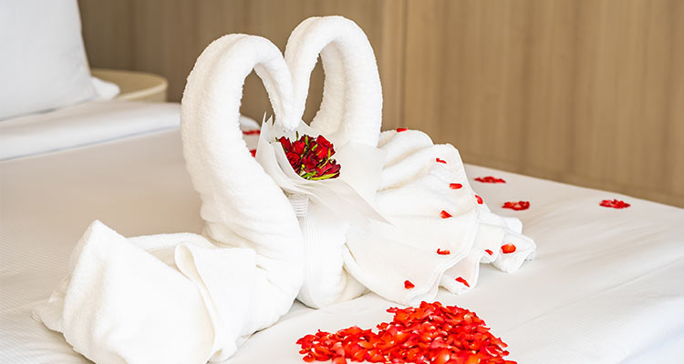 swan towel bed with red rose flower petals