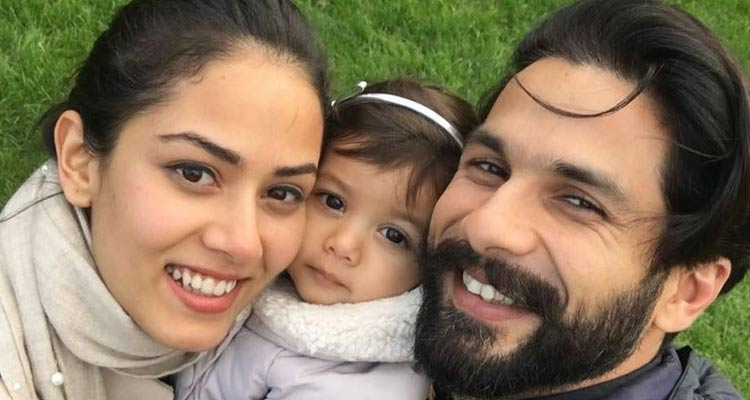 Shahid Kapoor and Mira Rajput with their daughter