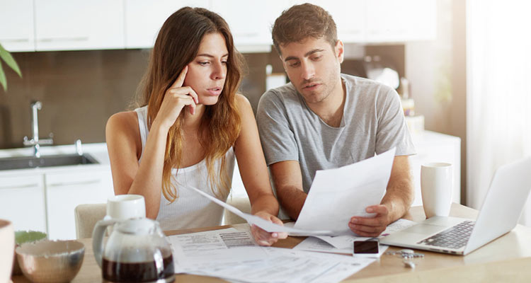 couple checking family budget