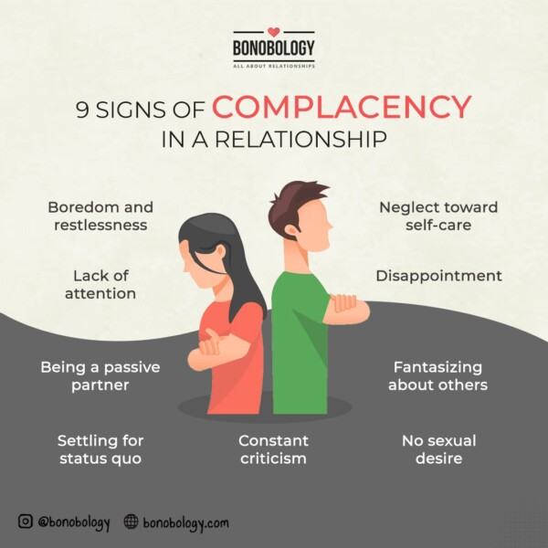 9 signs of complacency in a relationship infographic