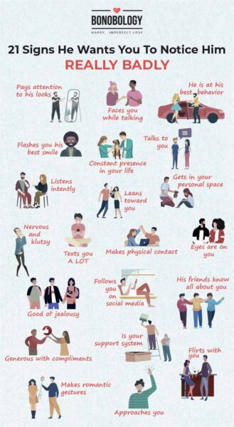 infographic for signs he wants you to notice him really badly