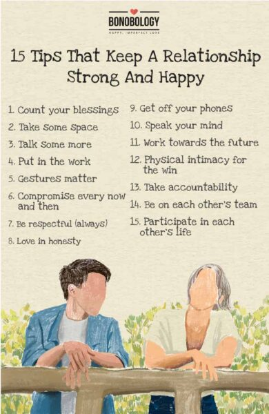 infographic for tips that keep a relationship strong and happy