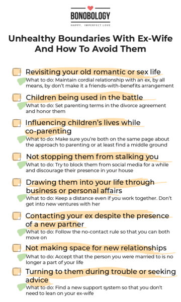 infographic on unhealthy boundaries with ex-wife