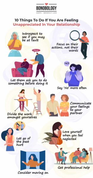 Infographic on 10 Things to do when you feel unappreciated in a relationship